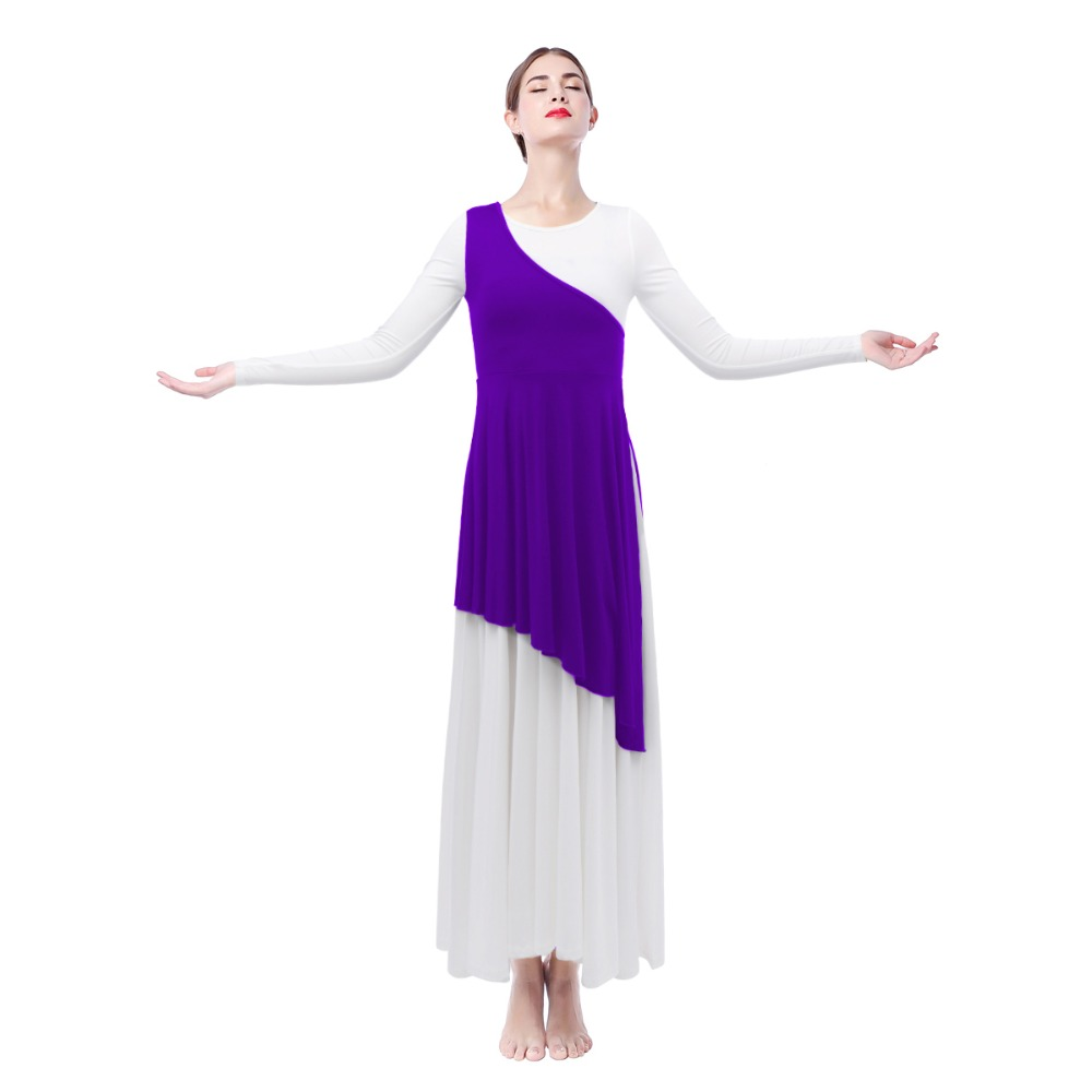 Women Adult One Shoulder Tunic for Modern Liturgical Dance Wear Pleated Asymmetrical Praise Dance Tunic Outer Tops Praisewear in Dresses from Women 39 s Clothing