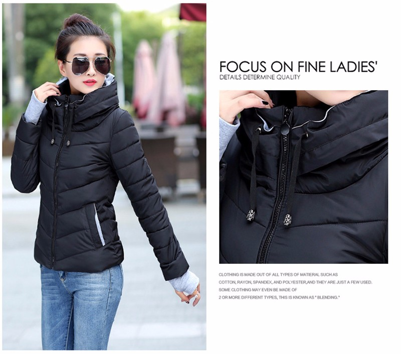 Winter Jacket Women Parkas Thicken Outerwear solid hooded Coats Short 34