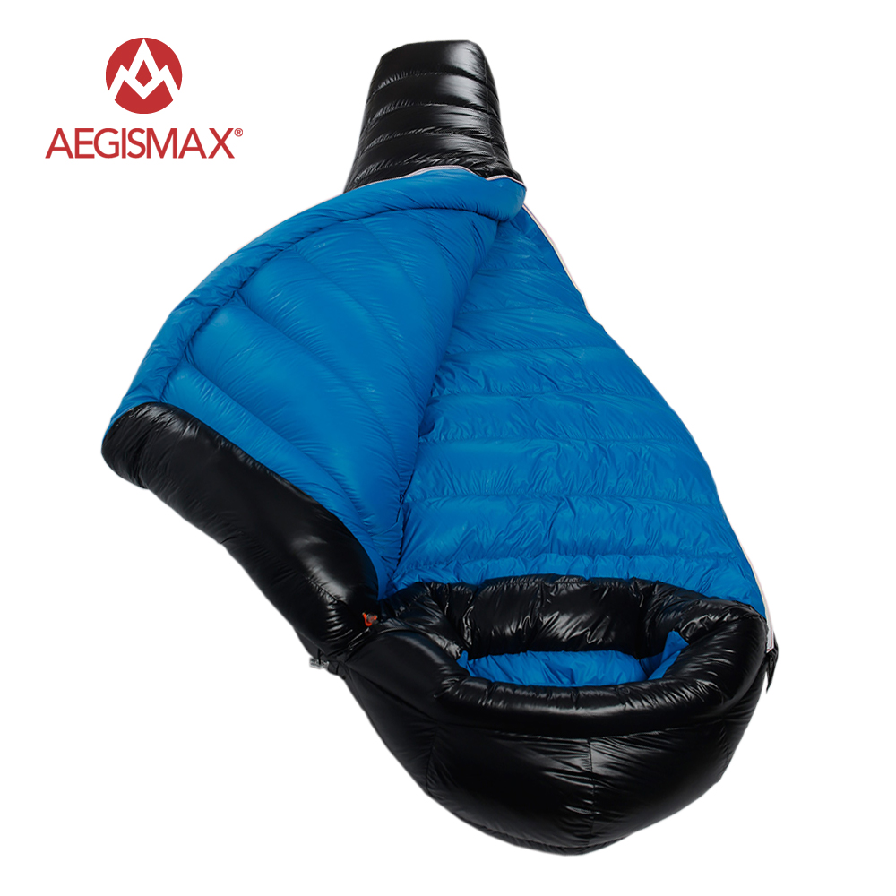 AEGISMAX Winter Camping Professional Ultralight Mummy 90 Duck Down Sleeping Bag Splicing