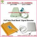 1 Sets Pantalla LCD 3G W-CDMA 2100 MHz GSM 900 Mhz de Doble Banda Amplificador de Señal de Teléfono celular Amplificador de Señal Del Repetidor GSM 900 2100 UMTS