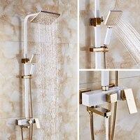Dofaso square head big rainfall shower set and square tube shower ivory white and rose golden colour high end villa shower taps