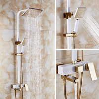 Dofaso square head big rainfall shower set and square tube shower ivory white and rose golden colour high-end villa shower taps