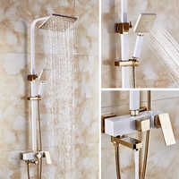 Dofaso square head big rainfall shower set and square tube shower ivory white and rose golden colour high-end villa shower taps