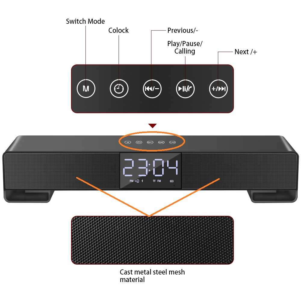 Toproad Touch Bluetooth Speaker Layar LCD Nirkabel Soundbar Subwoofer Stereo Speaker Mendukung Jam Alarm Handsfree Fm Radio TF