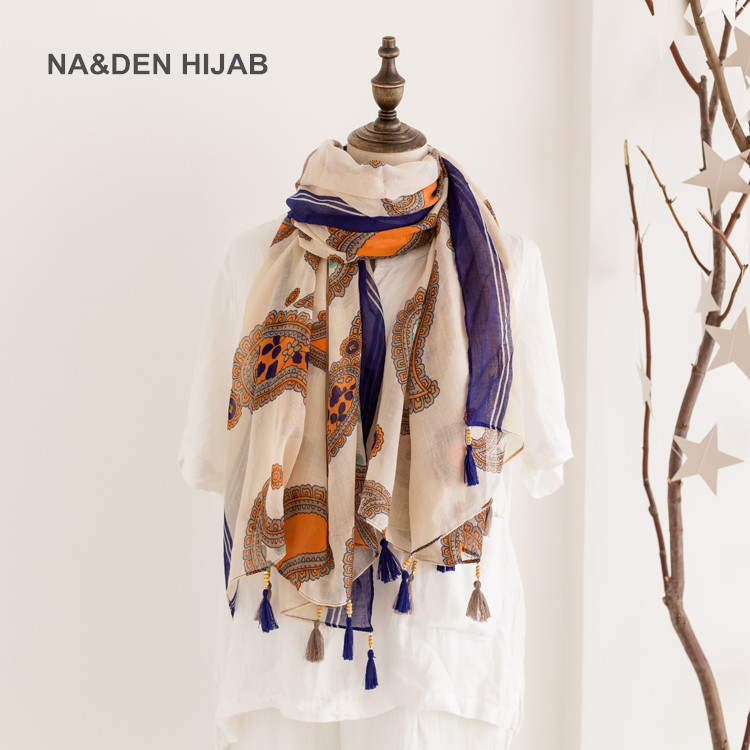 2018 new paisely scarf tassel islamic hijab scarfs luxury premium vintage scarves and shawls for women ladies Na&den hijab
