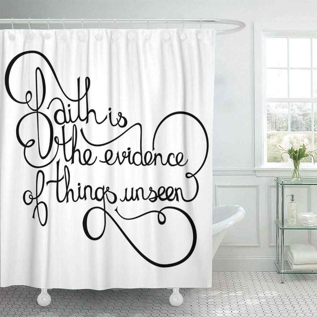Fabric Shower Curtain With Hooks Christian Inspirational Quote Saying Faith Is The Evidence Of Things Unseen Bible Cross