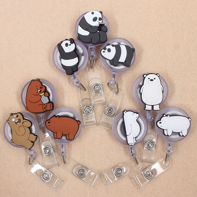 Cartoon We Bear Bears Retractable Badge Reel Student Nurse Horizontal Type Exhibition ID Name Card Badge Holder Office Supplies