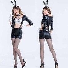 Sexy Negro Divertidos de Halloween Sexy Traje de Conejito de Disfraces Para Las Mujeres Night Club Party Cosplay Conejo De Peluche Mono E0012