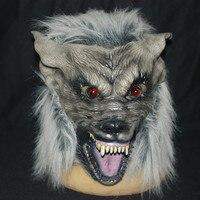 Bestnote Scary Grau Wolf Kopf Masken Realistische Halloween Erwachsene Latexmaske Tier Werwolf Cosplay Requisiten Partei-abendkleid Spielzeug