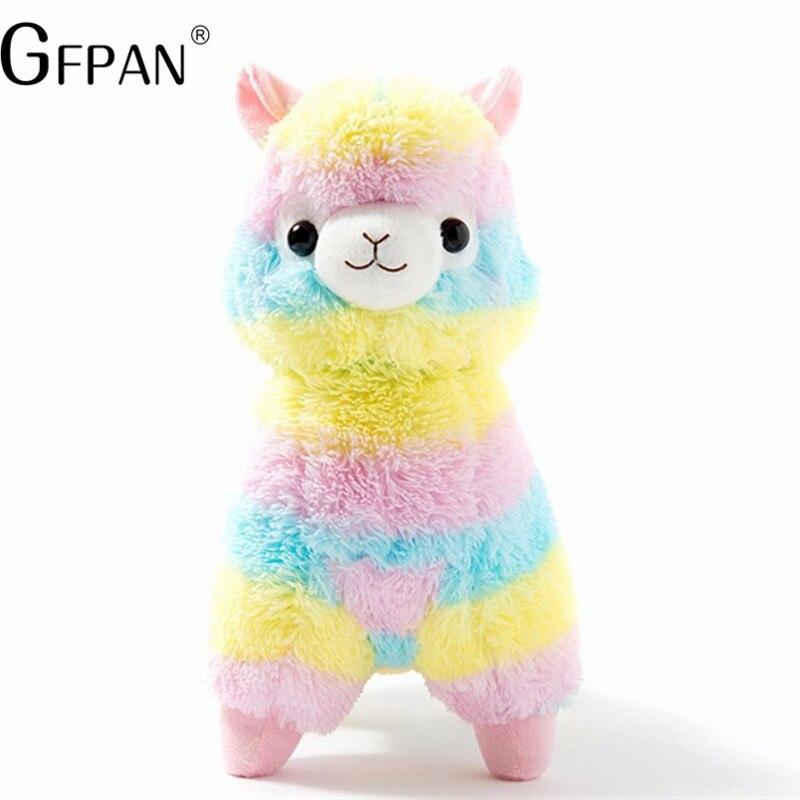 2019 Venta caliente 35/45 cm Arco Iris Alpaca ovejas de peluche de juguete japonés suave Alpaca de peluche animales regalo para las niñas