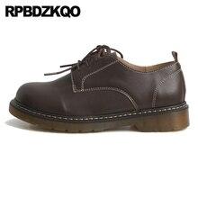 Винтажные женские туфли-оксфорды в китайском британском стиле на шнуровке; цвет коричневый; дизайнерские женские туфли на меху с круглым носком; Цвет Черный; Размеры 35