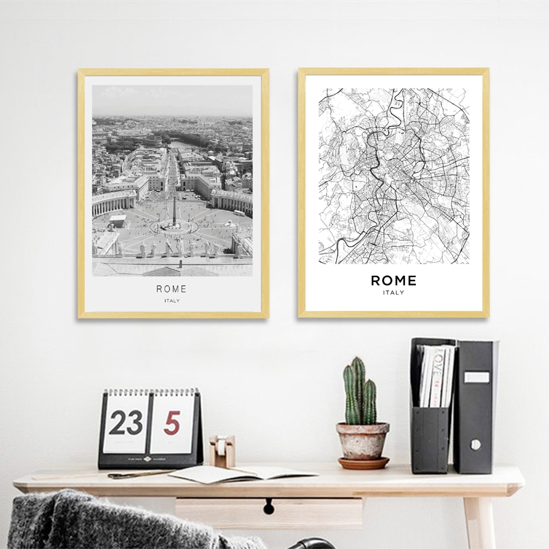 Rome Map Posters and Prints Italy Rome City Street Travel Wall Art Canvas Painting Black White Photography Pictures Home Decor