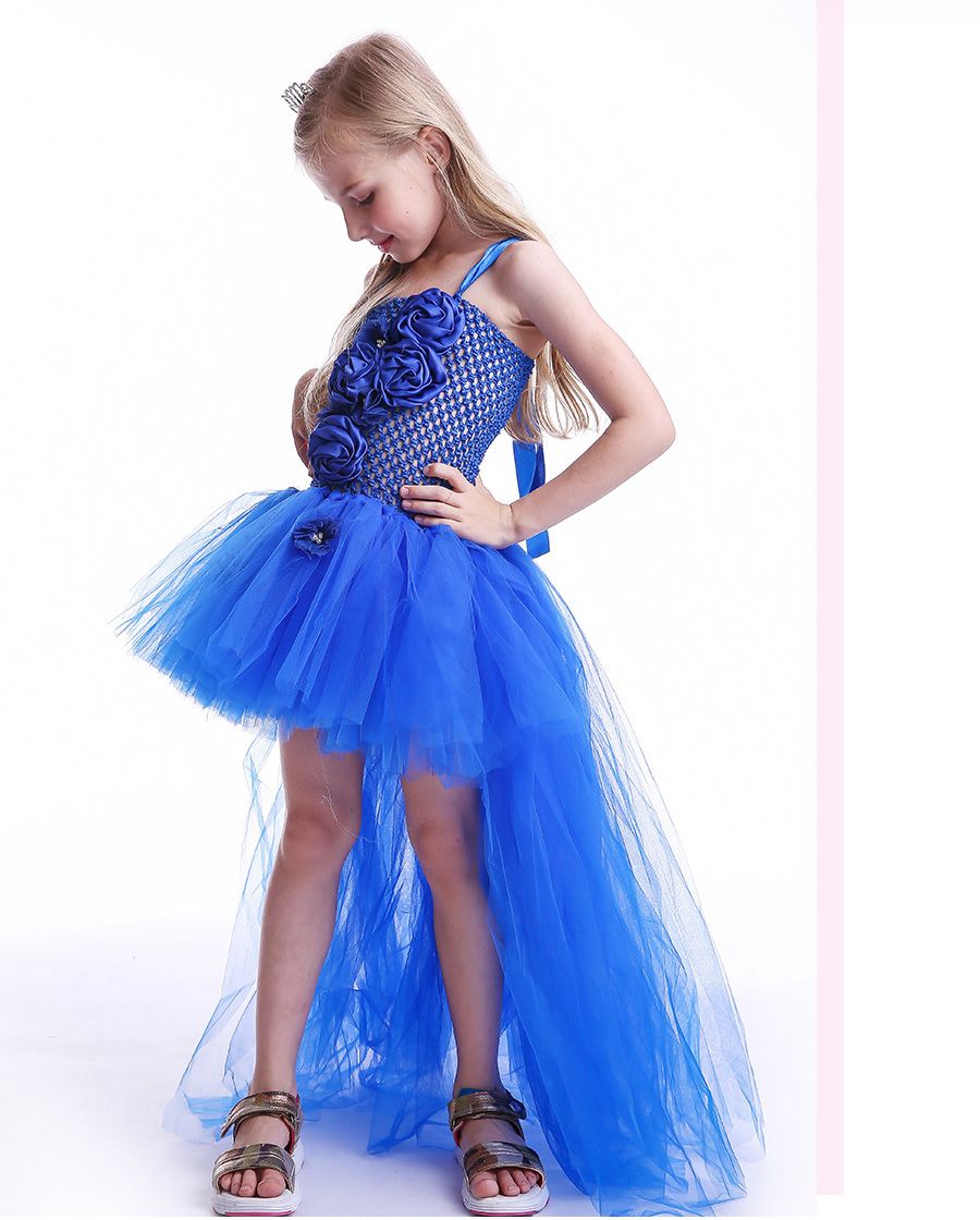 Royal Blue Flowers Girls Tutu Dress High Low Ice Princess Tulle Dress for Wedding Pageant Party Handmade Baby Photo Costume (6)