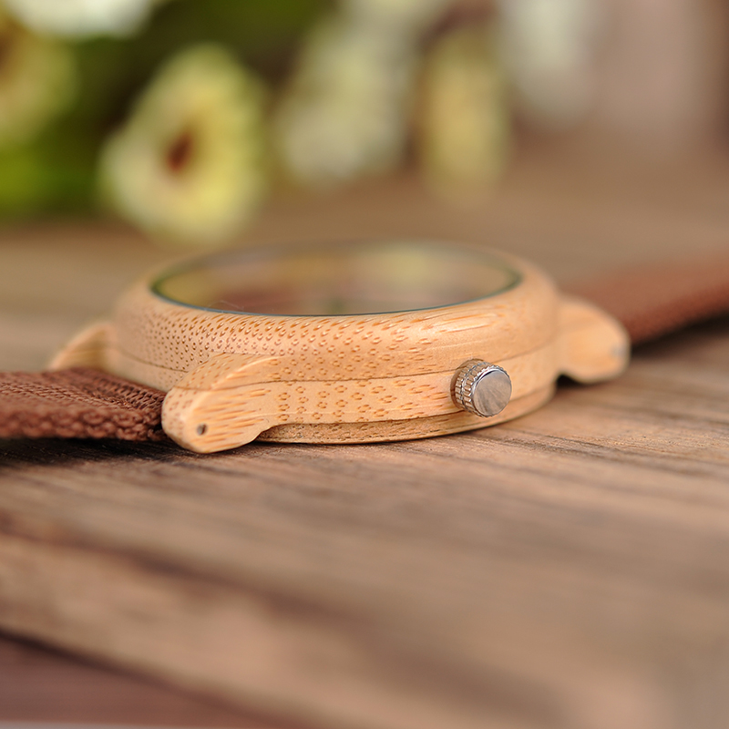 BOBO BIRD Red Dial Bamboo Wooden Watch With Nylon Strap