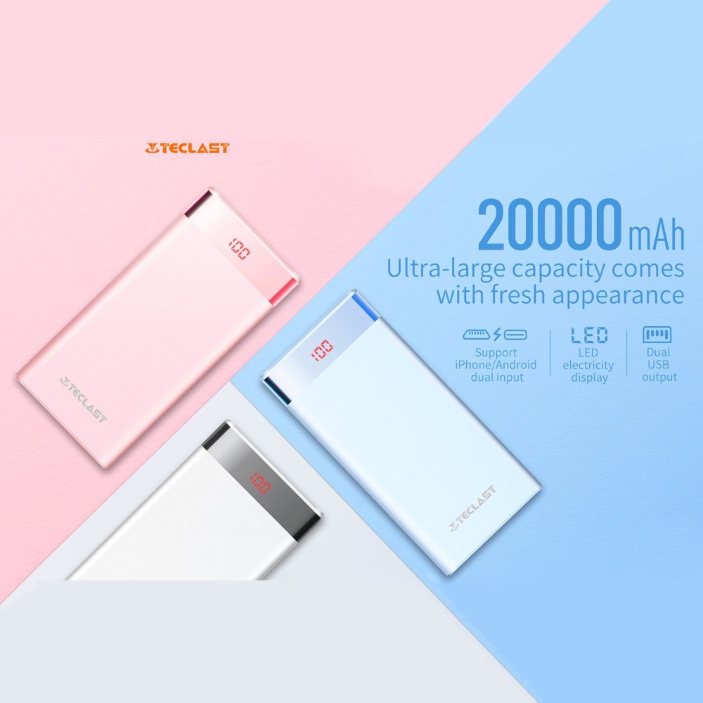 Teclast 20000mAh Power Bank 4USB Output 8Pin&Micro USB Dual-Input Mobile External Phone Battery for Iphone 8 X