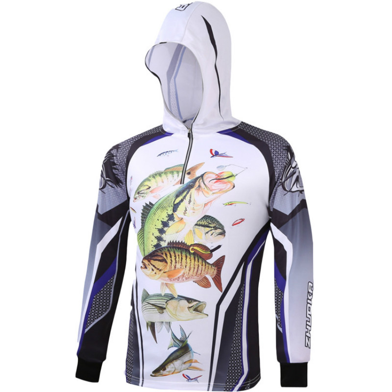 Anti-UV Men's Fishing Clothes Long Sleeve Ultra-Light Hooded Fishing Clothing Quick Dry Breathable Sun Protection Fishing Shirt