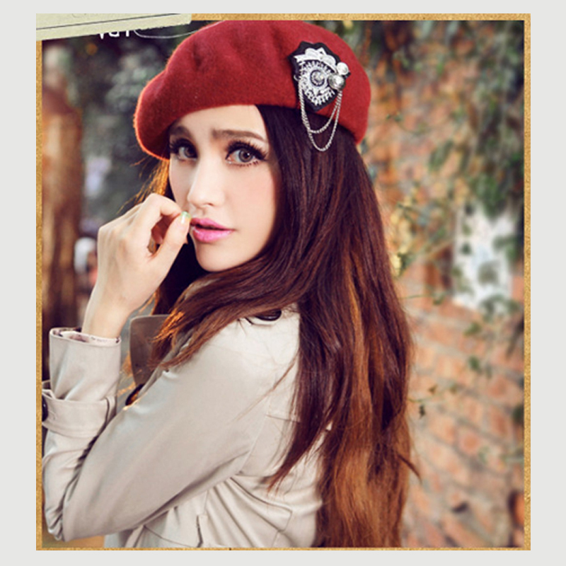 aea00423 jiexijie hot 100% wo Beret Female Winter Hats VIVI models riveted wo berets  ladies painter hat rivet round cap for women's