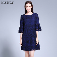 MUSENDA Plus Size Women Brief Loose Hollow Out Lace Butterfly Sleeve A Line Dress 2017 Summer Sundress Lady Office Beach Dresses