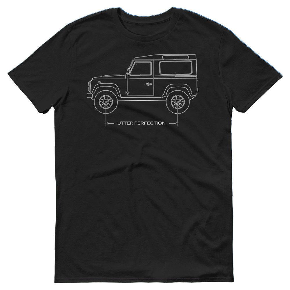 2018 Style D'été 100% coton Voiture De Terres Rover Defender 90 Perfection absolue Plan De Voiture T-Shirt Cadeau Idée T Shirt Tee chemise