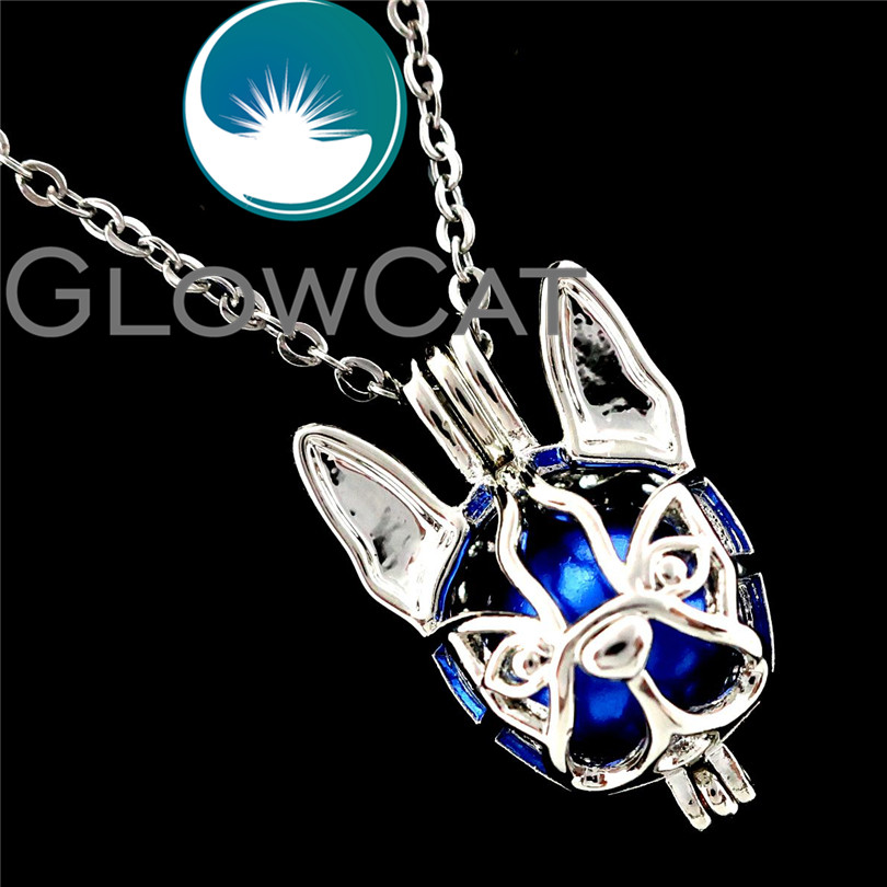 GLOWCAT R-K690 Dog Boston Terrier Beads Cage Pendant Essential Oil Diffuser Aromatherapy Pearl Cage Locket Necklace image