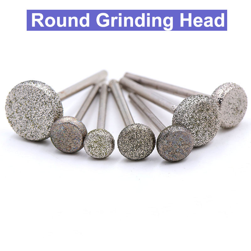 2pcs Round Diamond Grinding Head Wheel Dremel Rotary Tool Burs Set Accessories Mini Drill Burr Bits Disc Diamond Rotary Tool