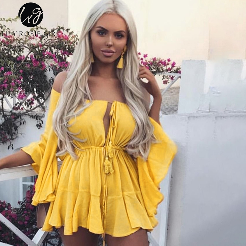 Lily Rosie Girl Off Shoulder Yellow Sexy Playsuits Women Big Flare Sleeve red Jumpsuits 2018 Beach Party Casual Lace Up Rompers red off shoulder lace up elastic waistband casual co ords