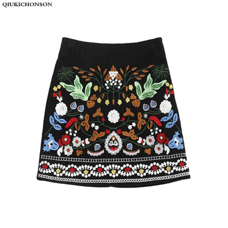 Corduroy Embroidered Skirt Women 2018 Apring Autumn Vintage Korean Fashion A-line High Waist Skirts Ladies Mini Skirt