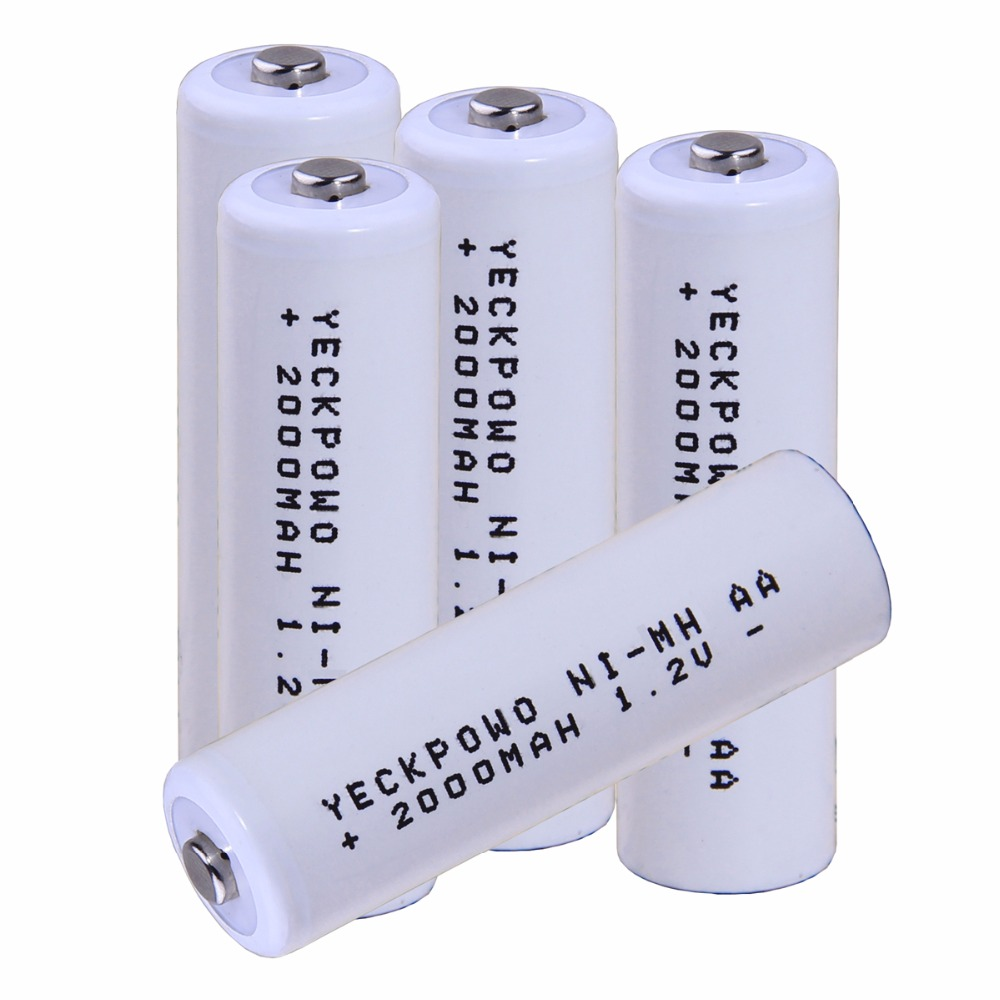 Real capacity! 5 pcs AA 1.2V NIMH AA rechargeable AA battery 2000mah for camera razor toy remote control flashlight