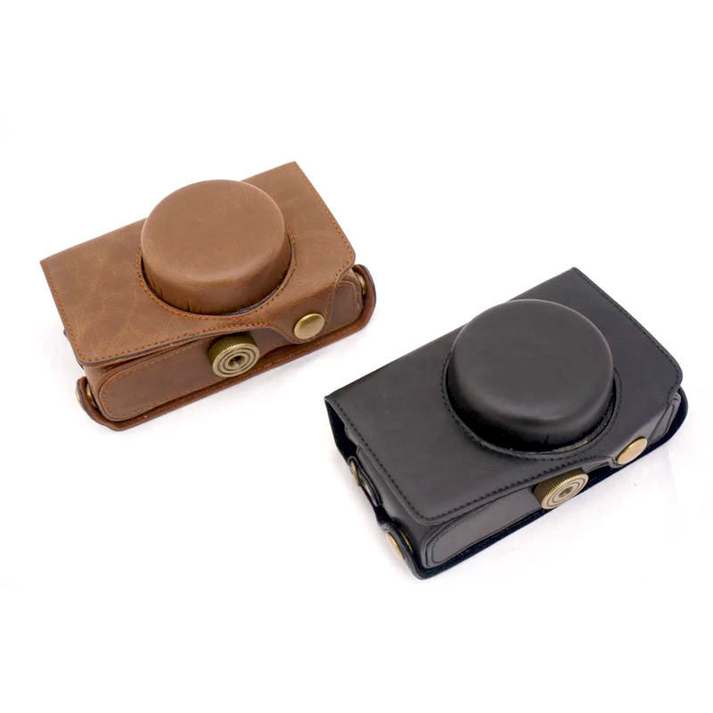 Black Brown High Quality PU Leather Video Camera Bag Case Cover Pouch with Shoulder Strap for Pentax MX1