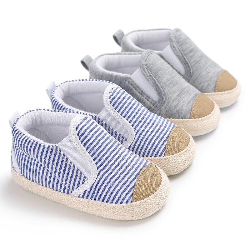 От 0 до 1 года новорожденных детская обувь Дети Мальчики Впервые ходунки для малышей Модная парусиновая Полосатый мягкой подошве Babe Loafer крос... ...