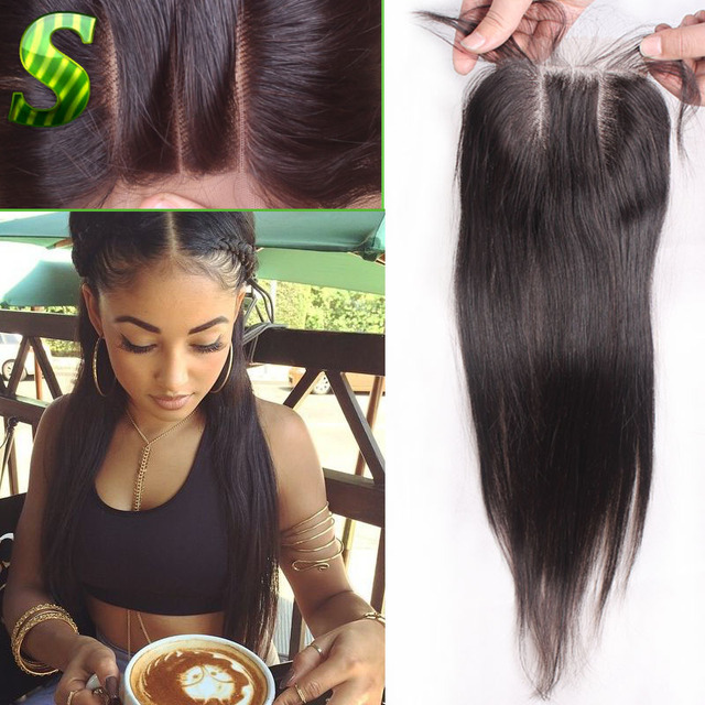 7a Brazilian Straight Closure Free Middle Three Part Lace Top