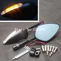 New Black CNC Universal Motorcycle Side Mirrors Motorcycle Rear View Mirror Accessories With LED Turn Signals Lights Indicator