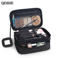 QEHIIE2017 الفاخرة ماكياج التجميل حقيبة المهنية حقيبة السفر المنظم التجميل ضروريا مستحضرات التجميل مربع التخزين