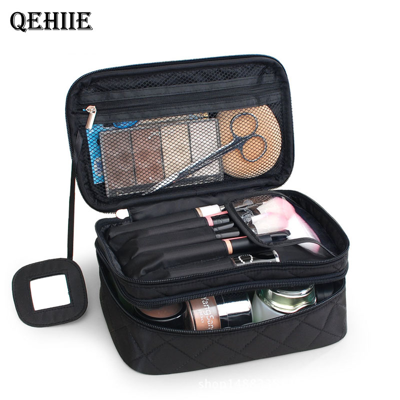 Saco de maquiagem feminina sacos de viagem grande impermeável náilon saco de cosméticos caso organizador de viagem necessaries compõem lavagem saco de higiene pessoal