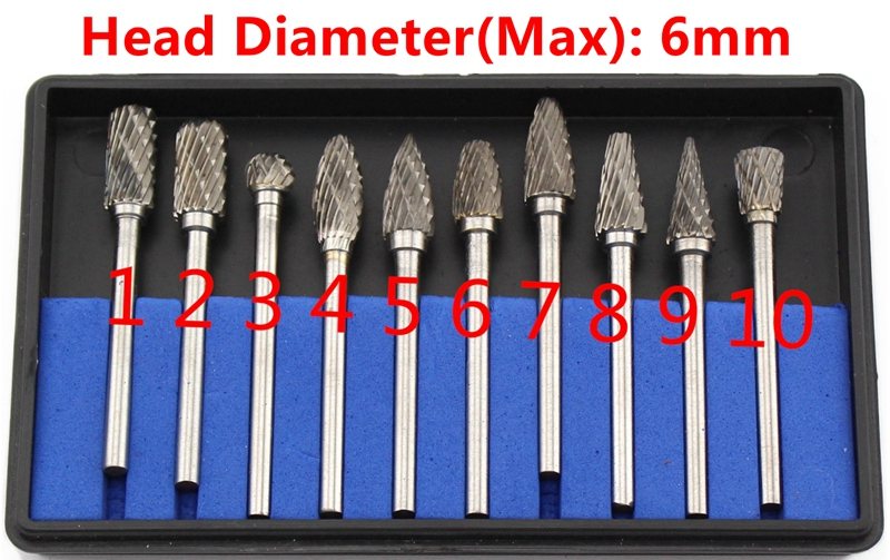 """10Pcs 3x 6mm 1//4/"""" inch Tungsten steel Solid Carbide Burrs Rotary Tool Drill Bit"""