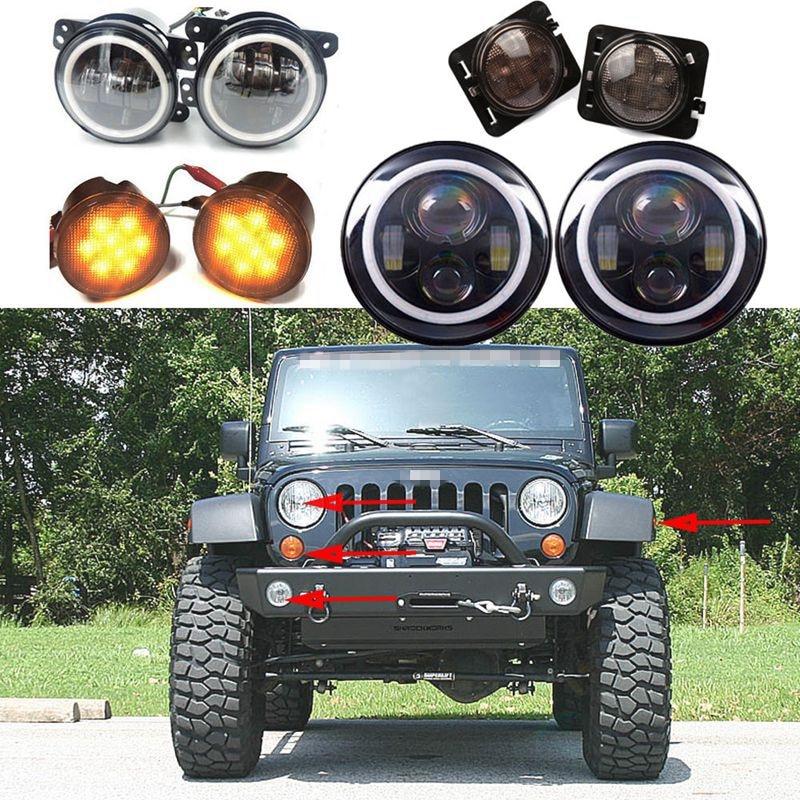 2P 7inch LED Headlight Indicator Turn Light Fog Light for JK Jeep Wrangler