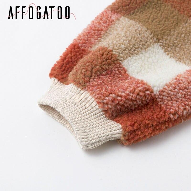 Affogatoo Casual O neck plaid lambswool hoodies sweatshirt women Vintage loose pullover sweatshirt Autumn winter ladies coats 9