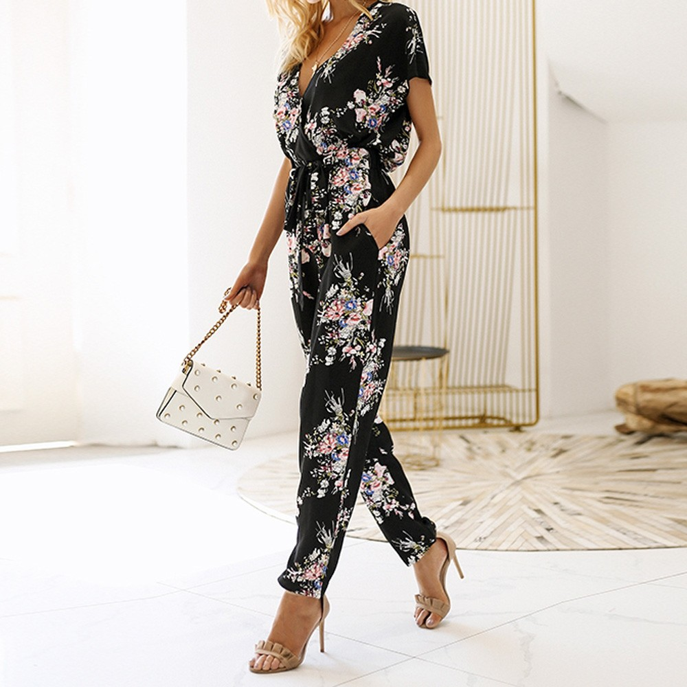 2018 Summer New Fashion Women Print Sexy V-neck   Jumpsuit   Boho Female Rompers Evening Party Clubwear One-piece   Jumpsuit   CYM&40