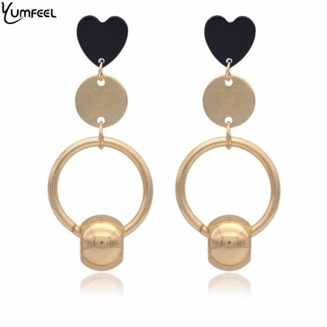 Yumfeel Brand New Fashion Accessory Earrings Heart Beaded Drop Earrings Pendientes Mujer Moda