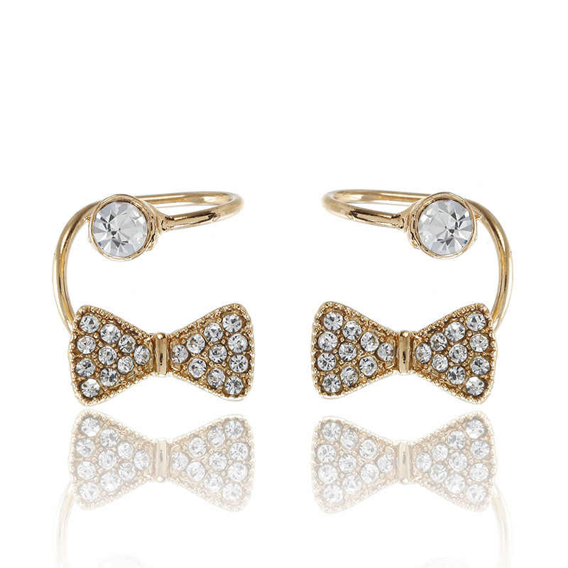 Sweet lovely gold fashion stud earrings for woman crystal zircon butterfly earring clip woman painless statement jewelry gift