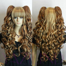 WOW perruque Girls Popular Heat Resistant hair Long Wavy Pony Pig Tail Blonde Yellow Brown Mix Full Hair Wig W/ Cap