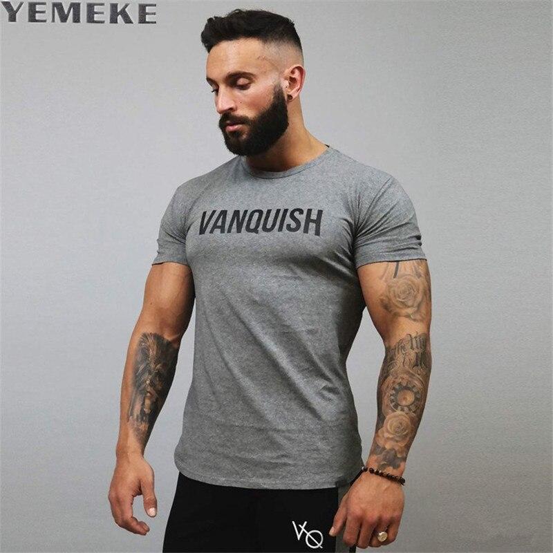 YEMEKE 2017 New Summer Letter   T     Shirt   Men Short Sleeve Striped Slim Fit O-neck Size M/L/XL/XXL Hite gray black