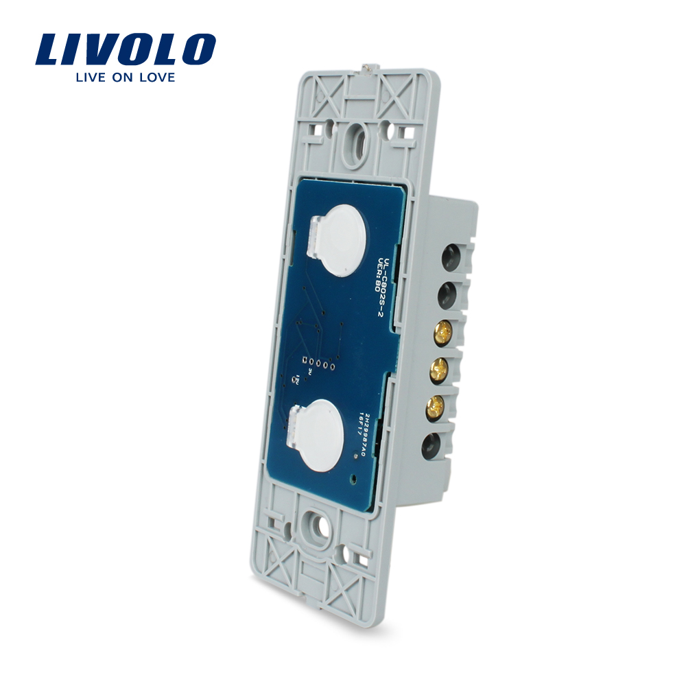 Livolo US Base de pantalla táctil de luz de pared, 2 Gang 1Way, AC 110 ~ 250 V, sin panel de vidrio, VL-C502