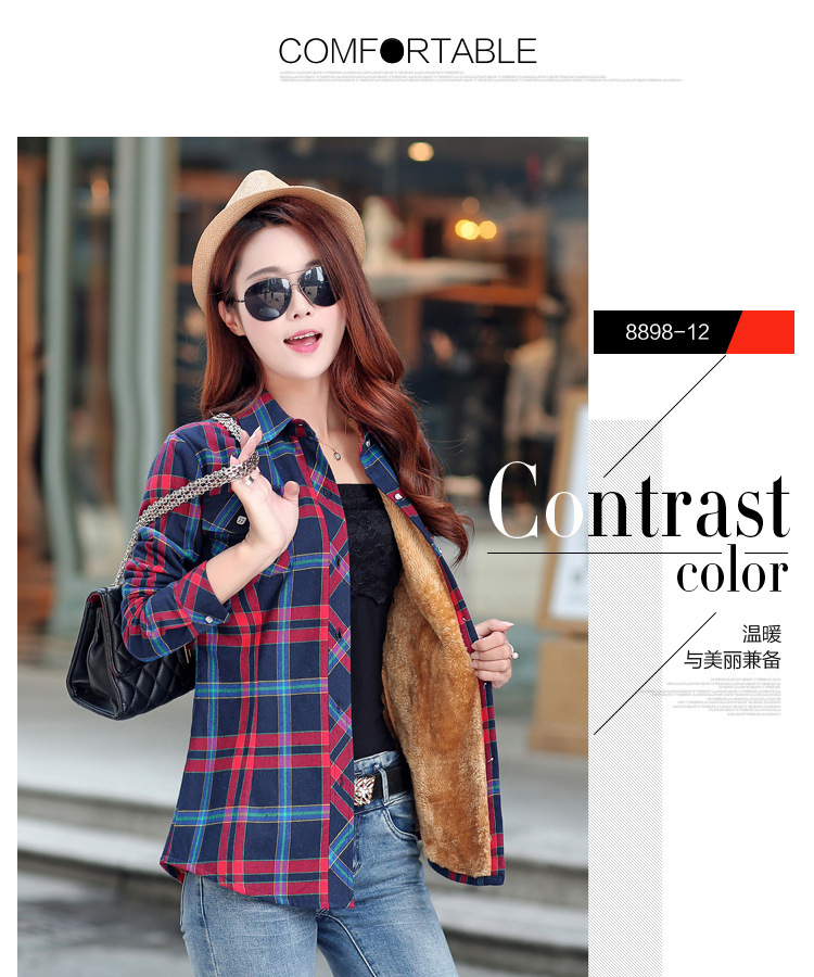 HTB1pUXqNVXXXXarXpXXq6xXFXXX1 - Brand New Winter Warm Women Velvet Thicker Jacket Plaid Shirt Style Coat Female College Style Casual Jacket Outerwear
