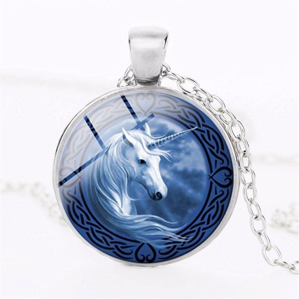 3 color unicorn art photo unicorn jewelry glass convex round fairy pendant fantasy jewelry