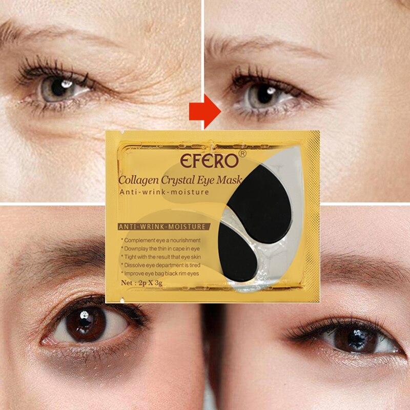EFERO 5Packs Collagen Eye Mask Dark Circles Repair Anti-Aging Crystal Gel Eye Patch Black Sheet Mask for Eye Patches Skin Care
