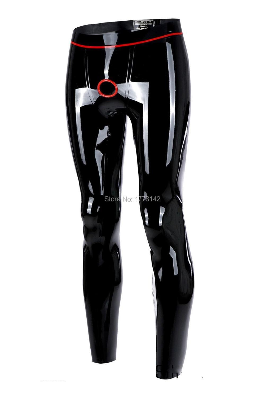 Latex Leggings Hole Ring Men Latex Trousers With Trim
