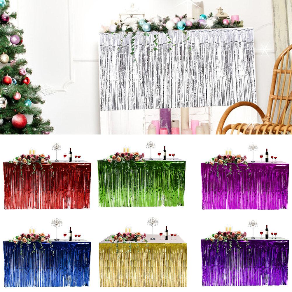 Wholesale Hawaiian Party Decoration Fringed Table Skirt Celebration Thickened Table Skirt Curtain Holiday Supplies Freeship