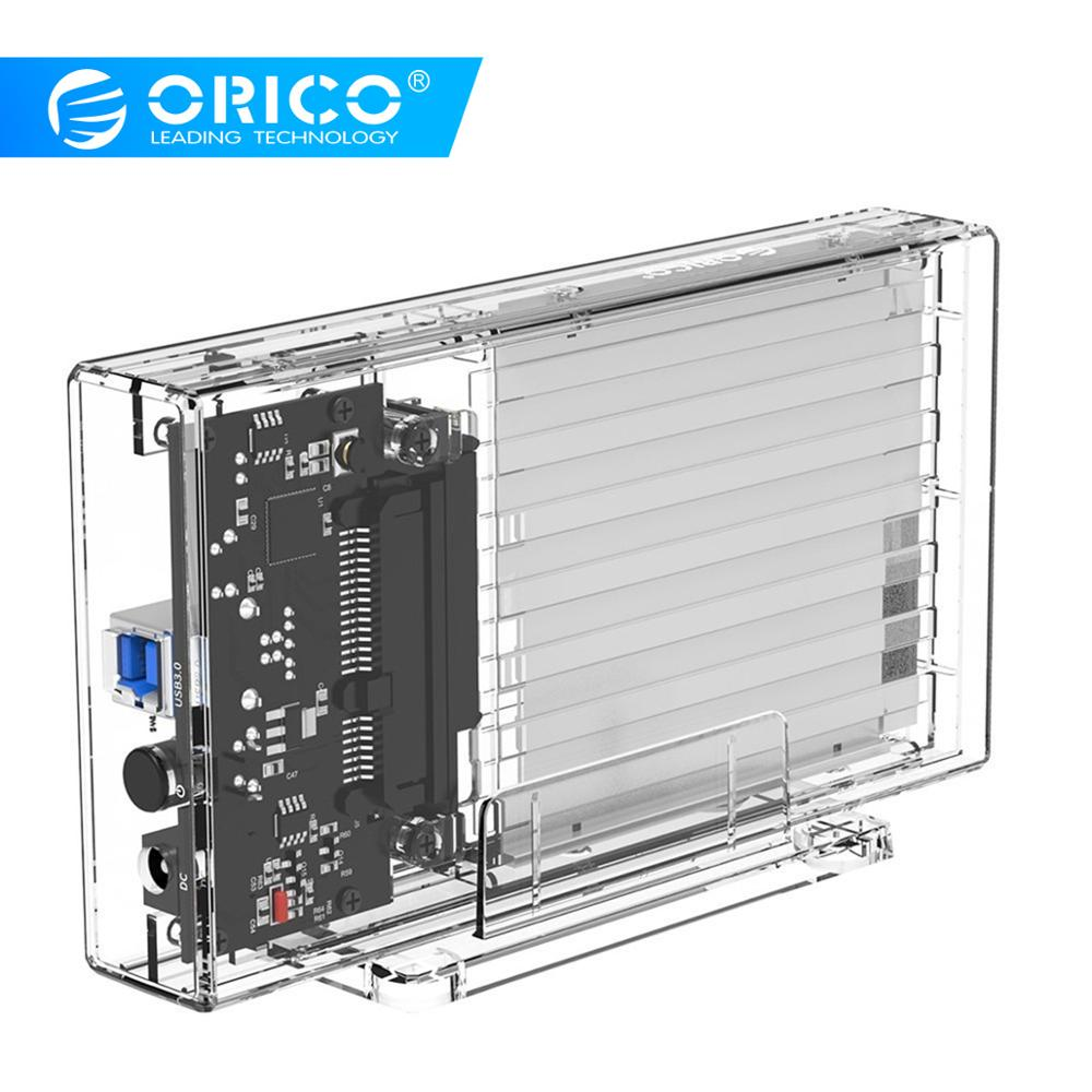 ORICO 2.5 Inch Transparent USB3.0 Type-B USB Port Power Supply Hard Drive Enclosure With Stand SATA3.0 Output HHD / SSD Case