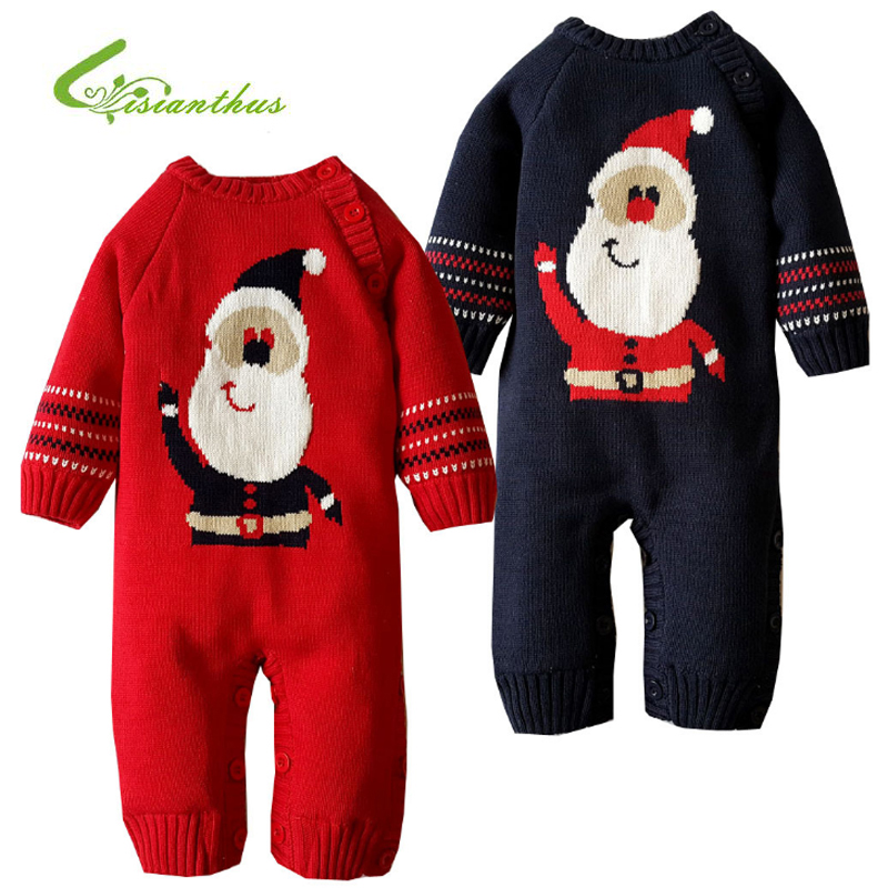 Baby Rompers Winter Thick Climbing Clothes Newborn Boys Girls Warm Romper Knitted Sweater Cartoon Christmas Man Outwear Costume 2017 baby jumpsuits winter overalls deer kinitted rompers climbing clothes sets for newborn boys girls costumes hooded sweater